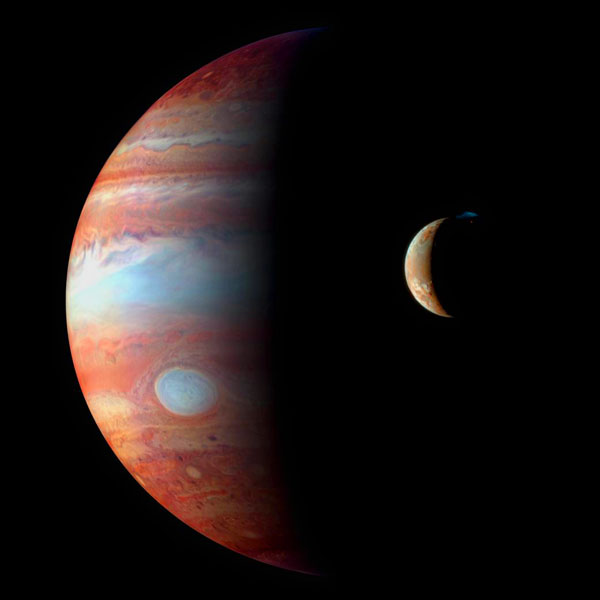 Jupiter and its volcanic moon, Io